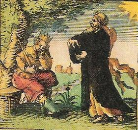 """Imaginary depiction of St Edwin of Northumbria from John Speeds's """"Saxon Heptarchy"""" (1611)."""