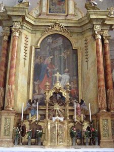 High altar in the Church of St. Stephen Harding in Apátistvánfalva, Hungary.