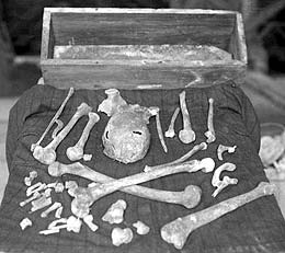 Remains of St Magnus, uncovered in St Magnus Cathedral in 1919