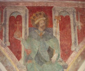 St Sigismund. Konstanz, Dreifaltigkeitskirche, fresco on the wall of the nave. Dated between 1417 and 1437.