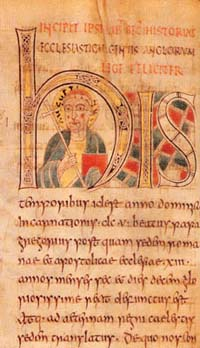 "Portrait labelled ""Augustinus"" from the mid-8th century Saint Petersburg Bede, though perhaps intended as Gregory the Great"