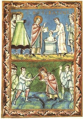 St. Boniface Baptising and Martyrdom in 754, illustration from the Sacramentary of Fulda, 11th Cent.