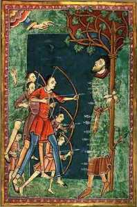 "Illumination from a mediaeval manuscript depicting Edmund being martyred ""all beset with their shots, as with a porcupine's bristles""."