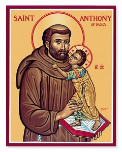 Antony of Padua holding the Infant Jesus; icon from http://www.monasteryicons.com/monasteryicons/Item_St-Anthony-of-Padua_402_ps_srm.html